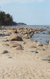 The big stones laying at the seashore in Latvia Stock Photography