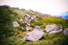 Big stones lie on top of the mountain Royalty Free Stock Image