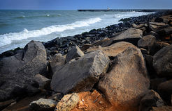 Big stones on the oceanside Royalty Free Stock Image