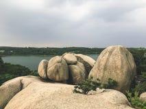 Big stones in the park of Sokcho city, South Korea royalty free stock photo