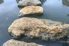 Big Stones into the river.  Royalty Free Stock Images