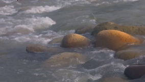 Big stones in the river stock video
