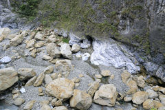 Big stones rolled down at the taroko national park Stock Images