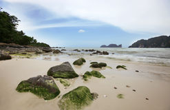 Big stones on the sand tropical beach Royalty Free Stock Image