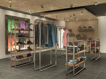 big stop interior with clothes. Royalty Free Stock Image