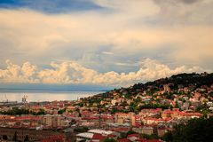Storm over the city of Trieste Royalty Free Stock Photos
