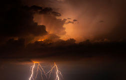 Big storm bringing thunder, lightnings and rain Royalty Free Stock Photos