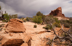 Big Storm Clouds Over Desert Buttes Arches National Park royalty free stock photos