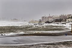 A big storm hit the Roman coasts, big waves and strong wind lap the coasts. A big storm hit the Roman coasts, big waves and strong wind and rain lap the coasts stock photography