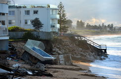 After the big storm, houses at Collaroy Beach front. SYDNEY 13.06.2016, After the big storm, houses at Collaroy Beach front. The intense storm lashing the NSW stock photography