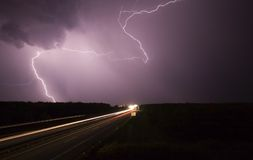 Big storm wiht highway Royalty Free Stock Photos