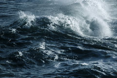 Big stormy ocean wave. Blue water background Royalty Free Stock Images