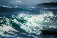 Big stormy ocean wave. Blue water background Stock Photo