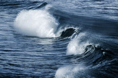 Big stormy ocean wave. Blue water background Stock Photography
