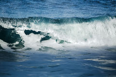 Big stormy ocean wave. Blue water background Royalty Free Stock Photography