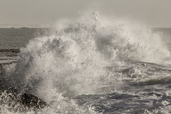 Big stormy wave splash. Closeup of a big splash from a breaking stormy sea wave Royalty Free Stock Photos