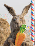 Big straw rabbit on VDNH, Moscow Stock Photo