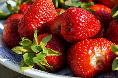 Big strawberries on a plate Royalty Free Stock Photo