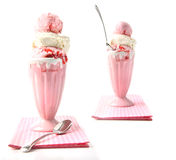 Big strawberry sundaes on white Royalty Free Stock Image