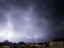 Big strike in the night sky with storm Royalty Free Stock Photography