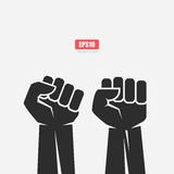 Big strong clenched fist icon Stock Images