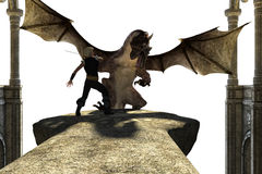 Big strong dragon with wings fighting with a person. On a transparent background. The dragon tries to kill the person Royalty Free Stock Photos