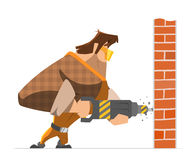 Big strong man worker drill a wall Stock Photography