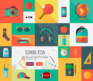Big student icons set. Vector collection of back Stock Image