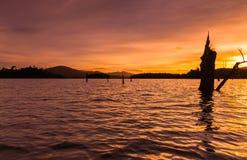 The big Stump silhouette at lake during sunset. This happening scenery located at kenyir lake terengganu malaysia during sunset Stock Images
