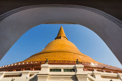 Big stupa in frame. The big stupa of thailand is historical of buddha Stock Photos