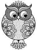 Big stylized ornate rounded owl Stock Photo