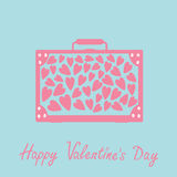 Big suitcase with hearts. Isolated. Happy Valentines Day card. Pink and blue.  Royalty Free Stock Images
