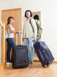 Big suitcases at the entrance of the house Stock Photos