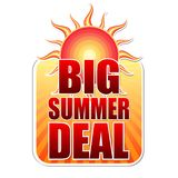 Big summer deal in label with sun Stock Images