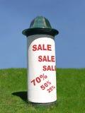 Big summer sale. Advertising column with big sale notice Stock Photo