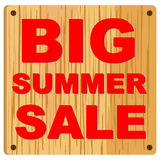 Big Summer sale. Very Large Big Summer Sale icon with wooden background Royalty Free Stock Photos