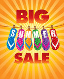 Big summer sale background with beach flip Royalty Free Stock Photos