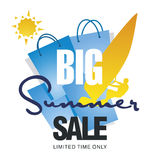 Big summer sale bag windsurf board sun card blue background vector. Big summer sale bag discount offer windsurf board sun card blue background vector Stock Photography