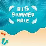 Big summer sale banner design. Show of palm leaves on water Royalty Free Stock Photography