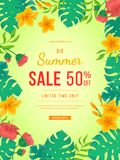 Big summer sale banner. Flowers and buds of hibiscus, leaves monstera and palm. Tropical exotic template poster design for print. Or web. Vector discount stock illustration