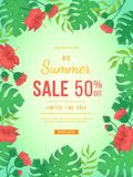 Big summer sale banner. Flowers and buds of hibiscus, leaves monstera and palm. Tropical exotic template poster design for print. Or web. Vector discount vector illustration