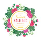 Big summer sale banner with round frame. Flowers and buds of hibiscus, leaves monstera and palm. Tropical exotic template poster. Design for print or web vector illustration