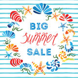 Big Summer Sale colorful banner decorated hand drawn seashells and water lines vector illustration