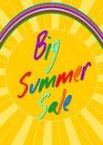 Big summer sale, headline in rainbow colors on background with sun motif Royalty Free Stock Photos