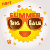 Big summer sale label with sun in glasses and symbols on background Royalty Free Stock Photos