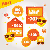 Big summer sale labels set. Hot deal collection Royalty Free Stock Images