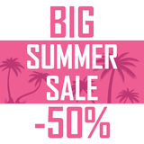 A big summer sale, palms on a pink background with a discount of fifty percent. Cheap, sell, offer vector illustration