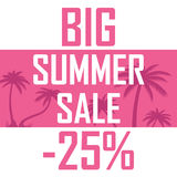 A big summer sale, palms on a pink background with a discount of twenty five percent. Cheap, sell, offer royalty free illustration