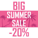 A big summer sale, palms on a pink background with a discount of twenty percent. Cheap, sell, offer stock illustration