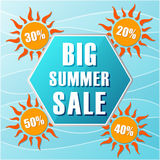 Big summer sale and percentages off in suns, label in flat design. Big summer sale text in blue hexagon and 20, 30, 40, 50 percentages off in orange suns, flat royalty free illustration